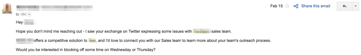 social media email response to a complaint about a competitor