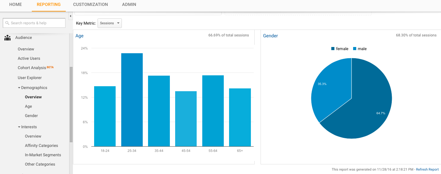 Google Analytics Demographic